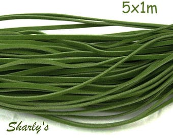 5 cords of 1 m of yarn Pine Green suede