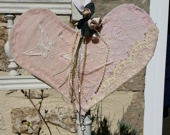Vintage lace shabby chic heart