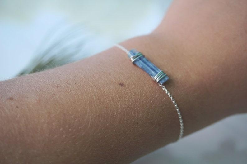 raw blue kyanite stacking bracelet crystal bracelet boho bracelet dainty stone bracelet Kyanite bracelet