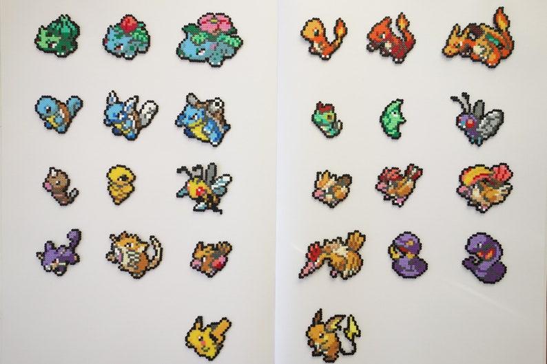 Pokemon pixel art keychains, pins or magnets, Pokedex #1-26