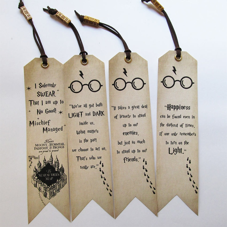 Handmade Bookmarks Set Of 4 Harry Potter Quotes With Bead Book Lovers Gift Idea Unique Birthday Present Bday For Friends