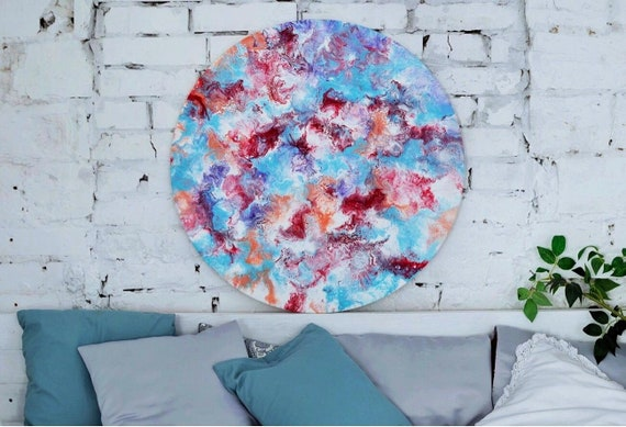 Bedroom Wall Art Turquoise Red Round Acrylic Painting Large Canvas Painting  Abstract Living Room Wall Decor Gift For Her For Mom For Women