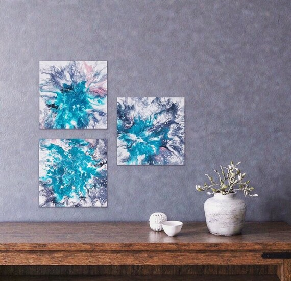 Set of 3 Wall Art Small Turquoise Gray Pink White Mini Wall Art Bedroom  Living Room Decor Abstract Canvas Painting Original Gift For Mom