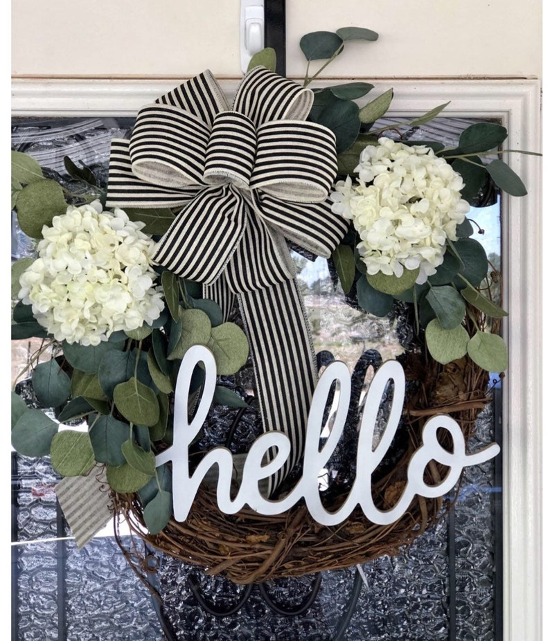 Hello Farmhouse Wreath Grapevine Wreath- Eucalyptus Wreath Year Round Wreaths Front Door Decor Hydrangeas