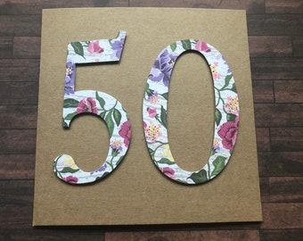 Handmade 50th Birthday Card. Birthday Card. 50th Birthday Card. Handmade Card.  Die Cut Card. Age Card