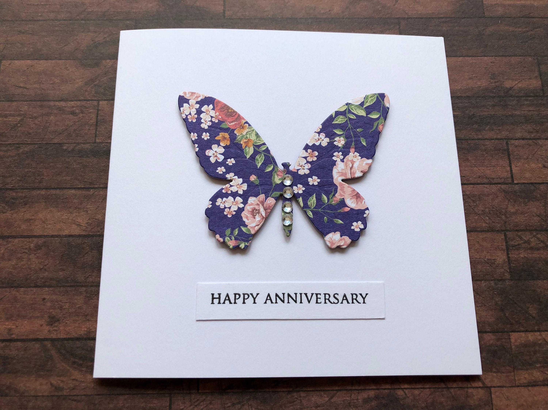 Handmade Anniversary Card Happy Anniversary Card Die Cut Etsy