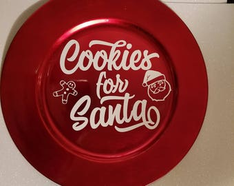 personalized christmas charger plates