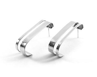 QUADRALINE EARRINGS - Silver earrings - Minimalist earrings - Sterling silver - Modern earrings