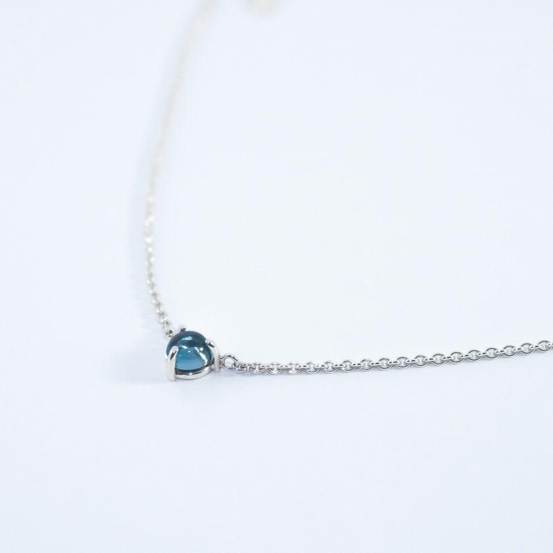 Dainty necklace Silver necklace London blue topaz Stone circle necklace Minimalist necklace Fine necklace Elegance necklace