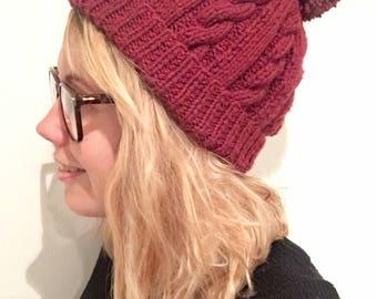 Maroon handknitted bobble hat