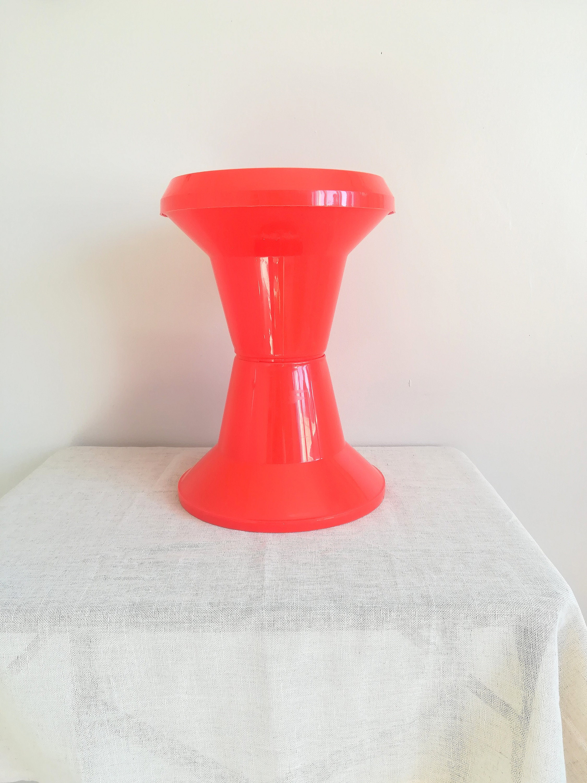 Tabouret Tam Tam Original orange vintage stool from the 1970s, stool tam tam, made in italy -  giganplast stool tam tam stool vintage stool, 70's seventies