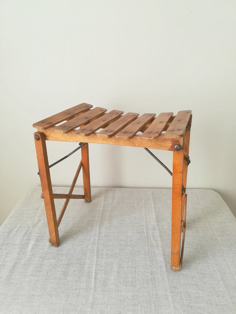 Awe Inspiring Vintage Folding Wood Stool Side Table Metal Stool Old Stool Wooden Child Stool Wooden Child Chair Download Free Architecture Designs Intelgarnamadebymaigaardcom