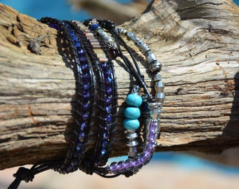 Blue, Silver and Black multi-strand Woven Wrap Bracelet
