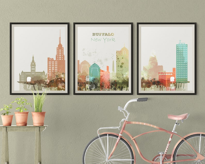 Buffalo NY Set of 3 prints Buffalo 3 pieces wall art triptych of Buffalo skyline wall art Travel Gift Idea Prints Art Office Decor