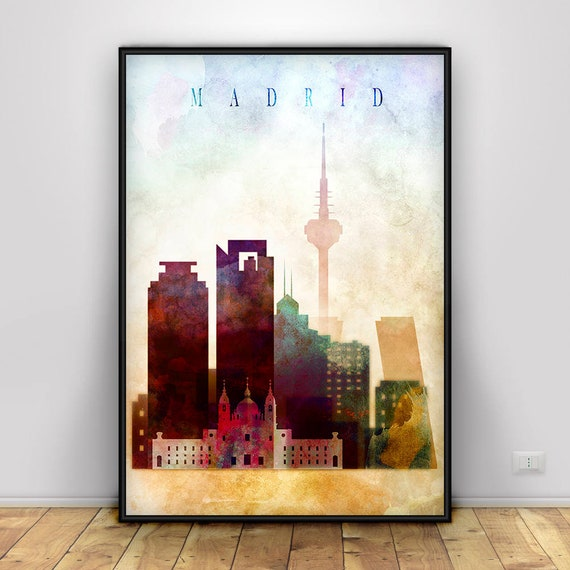 Madrid Spain Watercolor Skyline Wall Art Home Decor Poster UNFRAMED
