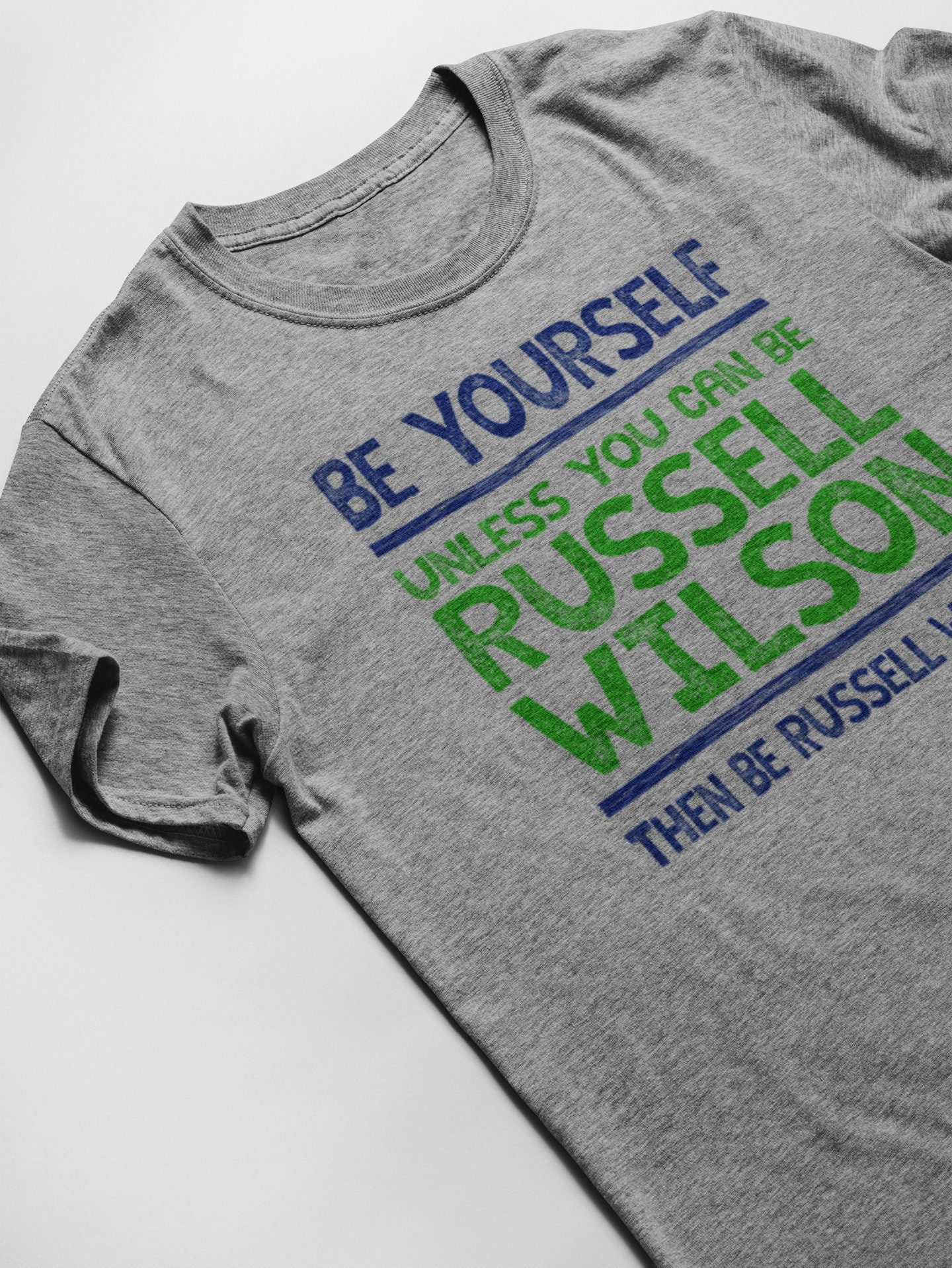 Russell Wilson Be Yourself Funny Football T-Shirt...Seattle Seahawks Quarterback Jersey Tee