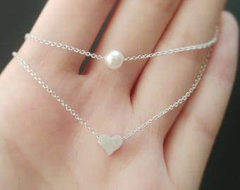 925 Sterling Silver Layered Heart and Pearl Necklace | Women Necklace