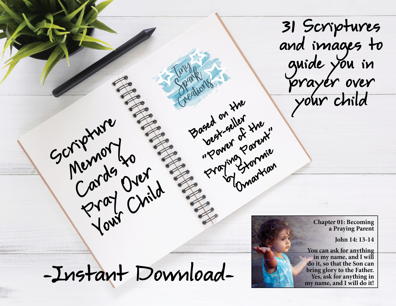 Power of the Praying Parent, Memory Verse Cards, Praying Scripture Cards,  Praying for Kids Cards, Digital PDF Printable File