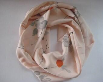 Light Pink Peony Floral Japanese Silk Scarf - Vintage Japanese Kimono Fabric