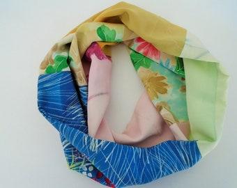 Floral Japanese Silk Infinity Scarf - Vintage Japanese Kimono Fabric