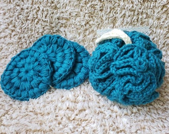 Set of reusable face pads and shower puff