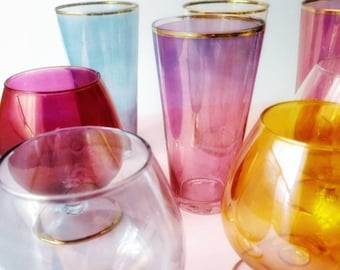 853620d643 Vintage iridescent drinking glasses - 1950s Easter 8 retro pastel party  glasses - Mid century large 4 tumblers and 4 goblets - 1950s barware