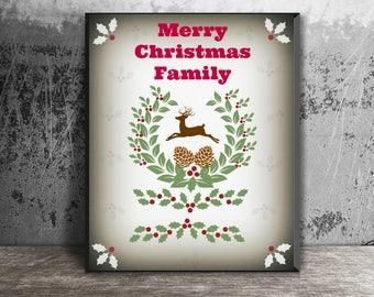poster of navidad.navidad family, Christmas felicitacion.tarjeta, renos.feliz navidad.decoracion navidad.regalos.8X10 card card