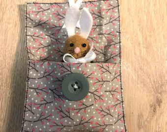 easter bunny pouch grey button