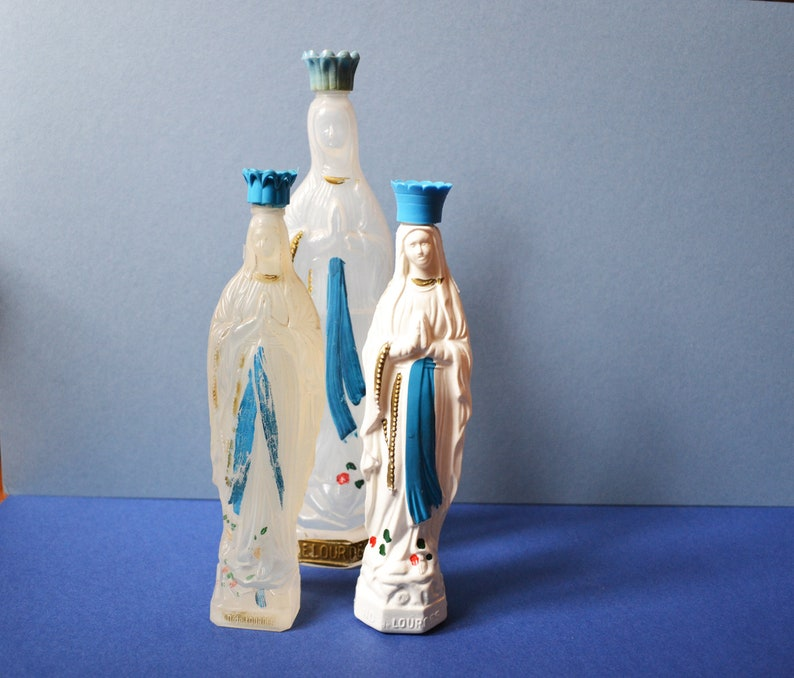 4389b2c6d47f Set of 3 bottles, Holy Virgin, Saint Mary, souvenir pilgrim, plastic  bottles, vintage France