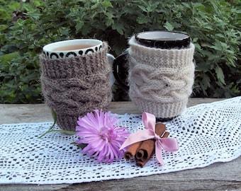Knit Cup Cozy, Coffee / Tea Cup Cozy, Coffee Mug Cozy, Cable Knitted Coffee warmer, Knit Cup Coffee Cozy, Knit Mug Cozy.