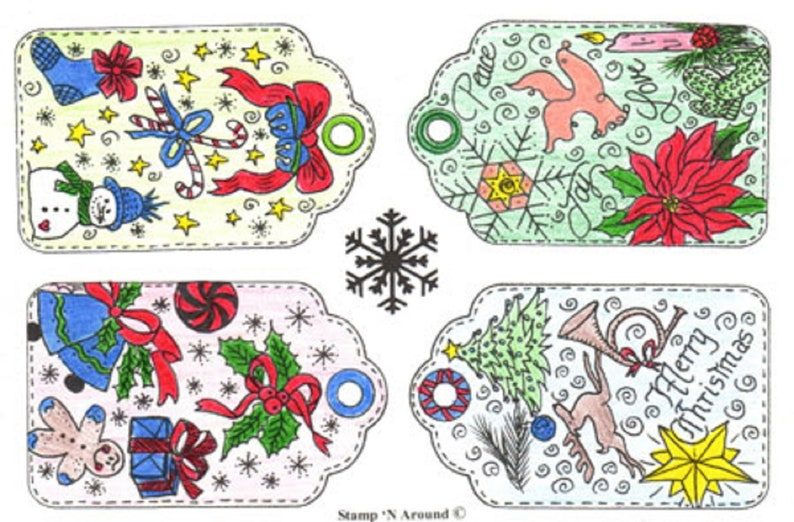 Sparkle /'n Sprinkle Gray Rubber Stamp Set 169 Christmas Tags     50/% Off Until July 15th