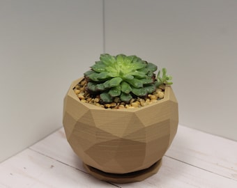 Modern Geometrical 3D Printed Planter for Succulents and Cactus