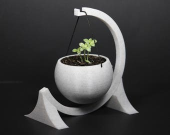 Modern Hanging Spherical 3D Printed Planter with Circular Stand | Black | White| Gray |