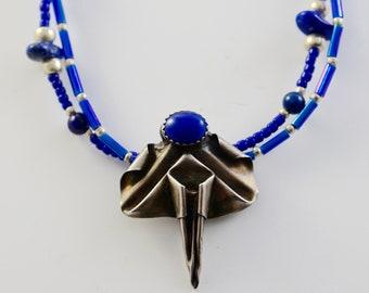 Fine Silver PMC Genuine Lapis Lazuli Origami Multi-Strand Necklace with genuine lapis lazuli beads