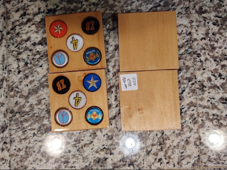 wooden coasters with all Texas beer bottle caps