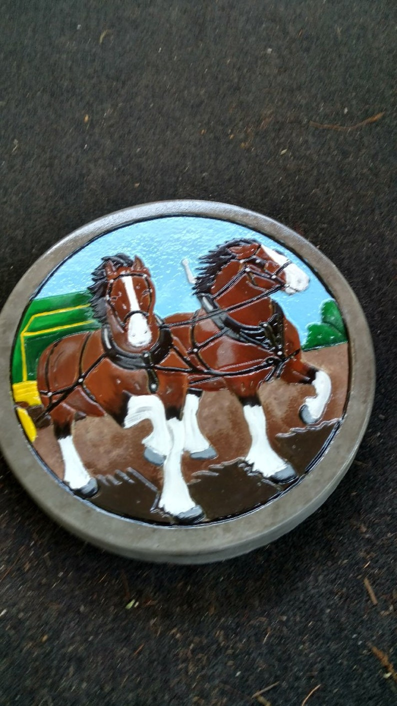 Custom Garden Paver Stone Painted With Horses.
