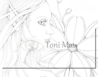 Sienna– Digital Download Coloring Page, Adult Coloring, Relaxing, Digi Stamp, Printable, PDF file.