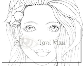 Hanna – Digital Download Coloring Page, Adult Coloring, Relaxing, Digi Stamp, Printable, PDF file.