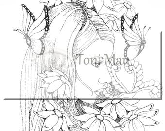 Phoebe – Digital Download Coloring Page, Adult Coloring, Relaxing, Digi Stamp, Printable