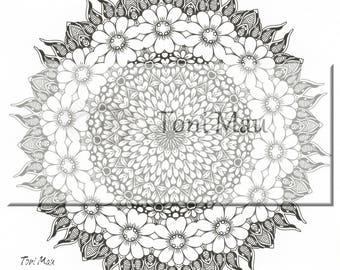 Doodle01 – Digital Download Coloring Page, Adult Coloring, Relaxing, Digi Stamp, Printable, PDF file.