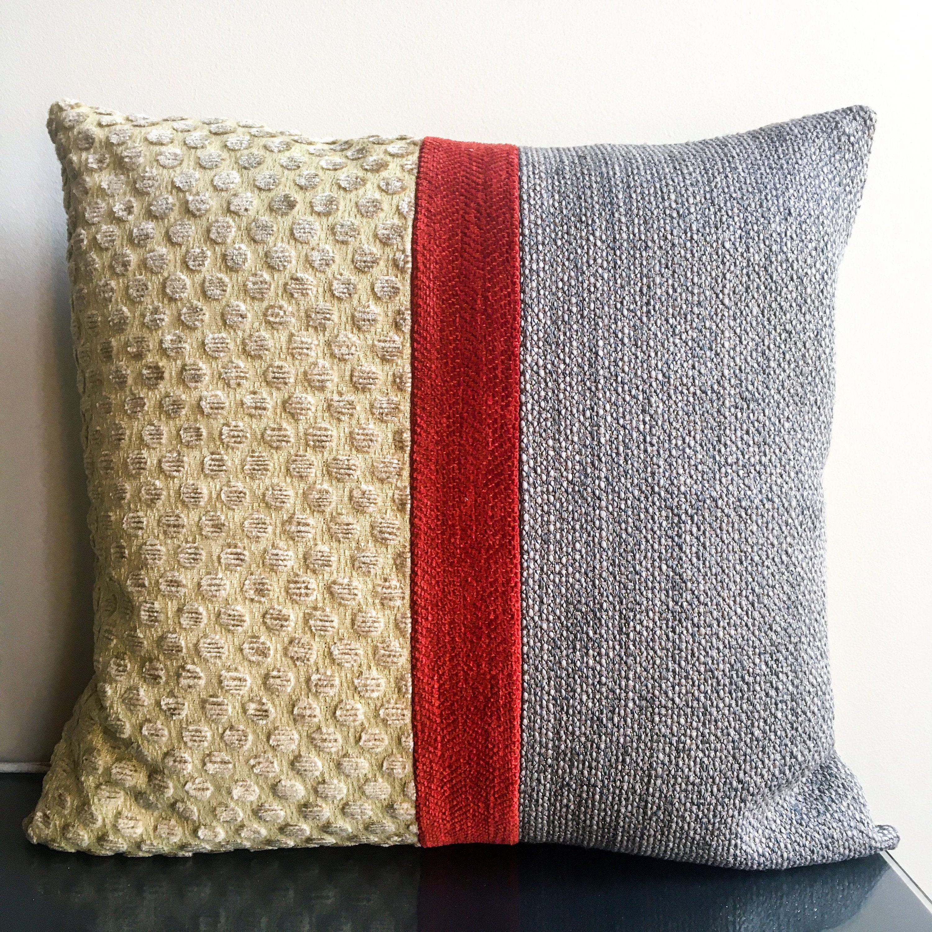 20x20 Color Blocked Textured Decorative Pillow Covers   Taupe, Light Gold, Rust Red   Neutral Contemporary Throw Pillows   Handmade USA  