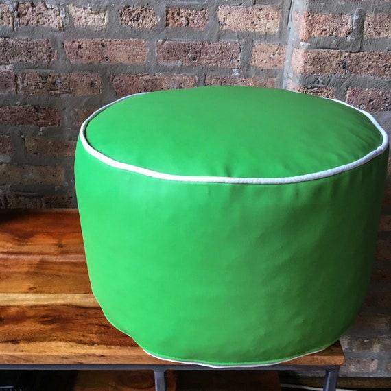 Sensational Outdoor Pouf Ottoman Cover Bright Green And White Vinyl Handmade In Usa Floor Pouf Round Pouf Pouffe Small Pouf Ottoman Uwap Interior Chair Design Uwaporg