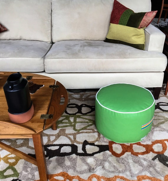 Awe Inspiring Outdoor Pouf Ottoman Cover Bright Green And White Vinyl Handmade In Usa Floor Pouf Round Pouf Pouffe Small Pouf Ottoman Uwap Interior Chair Design Uwaporg