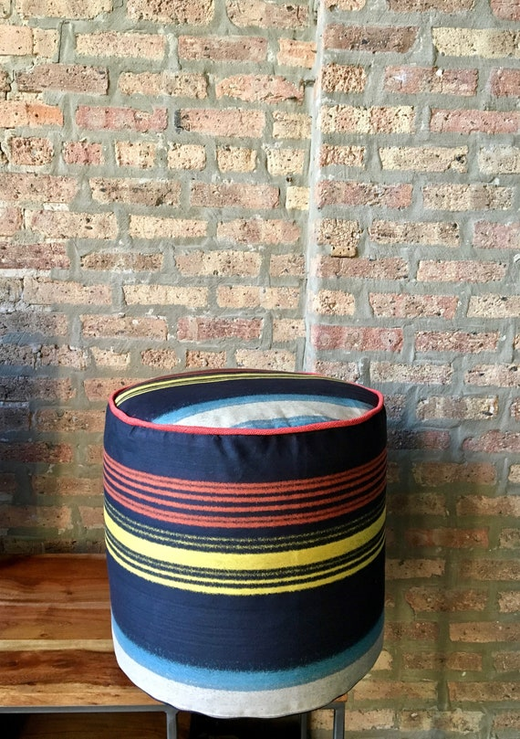 Pouf Ottoman Navy Blue Red And Yellow Stripes 15 High Etsy