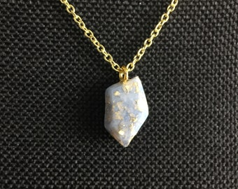 Small Crystal Necklace - Ice Blue & Gold