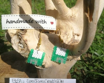 Green Floppy Disk Beads Earrings