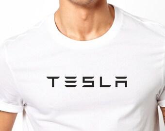 443ba0fb Tesla logo printed Men T Shirt Short Sleeve Round Neck Denim red white  black gray