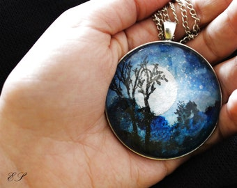 Dark Night Miniature Necklace, Mini Painting,  Handmade