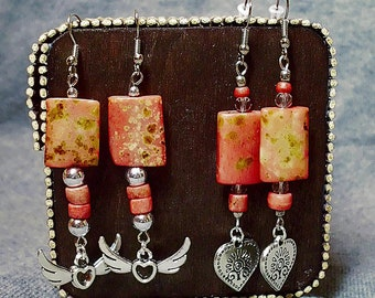 """Upcycling Valentins day Earrings - Earrings """"Heart with Tree of Life """"  - Earrings """"Wings of Heart"""" -Love & Hearts-Upcycled"""