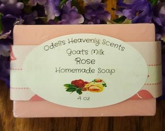 Rose Goat's Milk Homemade Soap 4 oz